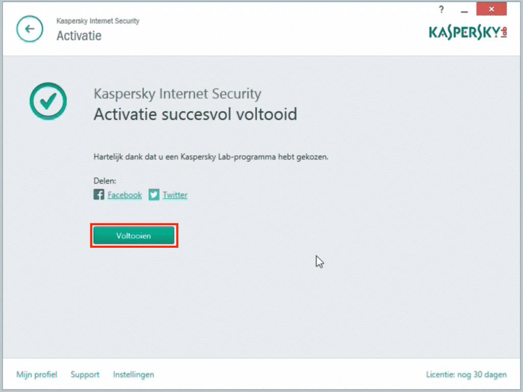 Kaspersky: activering voltooid