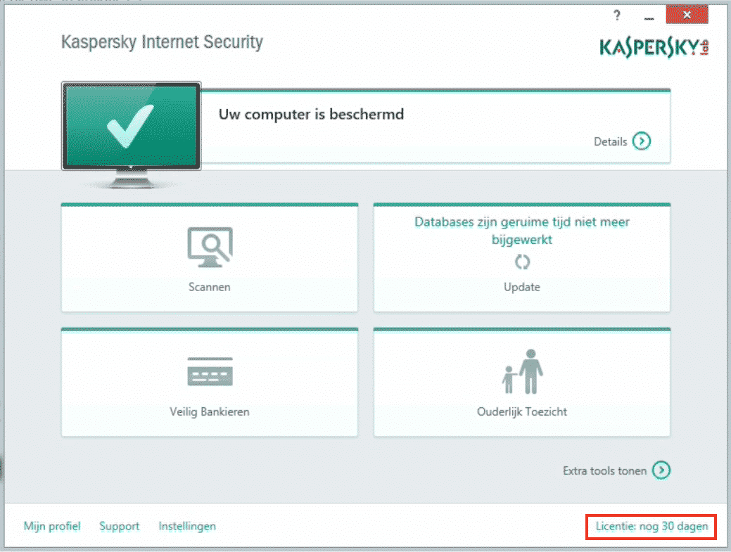Kaspersky: klik op Licentie