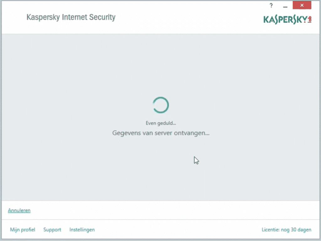Kaspersky: programma wordt geactiveerd