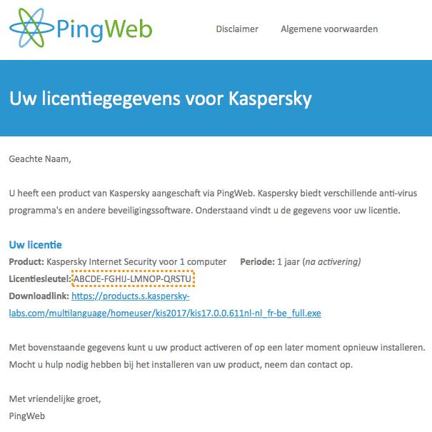 Voorbeeld e-mail licentiegegevens Kaspersky